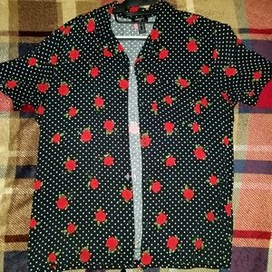 Rosed Polka Dot Button Down